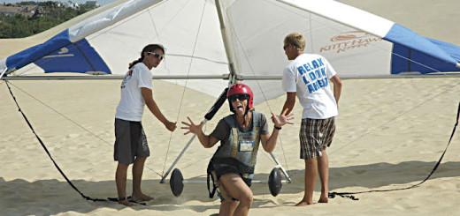 A participant expresses her joy at learning to hanglide during the 2011 Kill Devil Hills retreat.