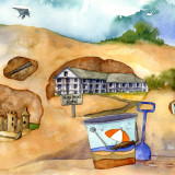 Outer Banks artist Liz Corsa let her imagination go wild thinking about what could be buried beneath Jockeys Ridge.