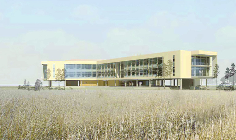 Architectural rendering of the new CSI Meeting and Classroom facility. Courtesty of Coastal Studies Institute