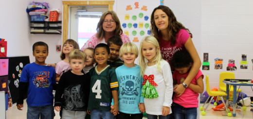Teacher Ann Johnston and classroom aid, Jamie Henley with pre-school classroom.