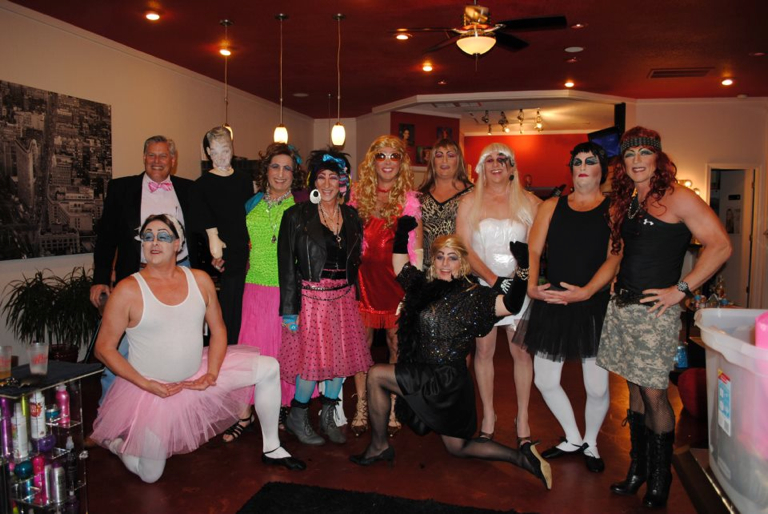 Last year's womanless beauty contestants. Sponsored by Brindley
