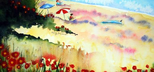 Blue Board, watercolor by Meg Rubino.
