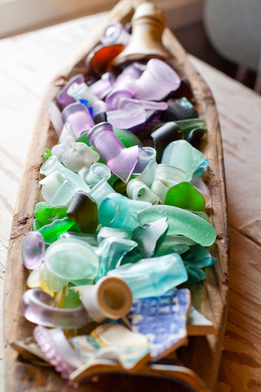 Small part of the beach glass collection.