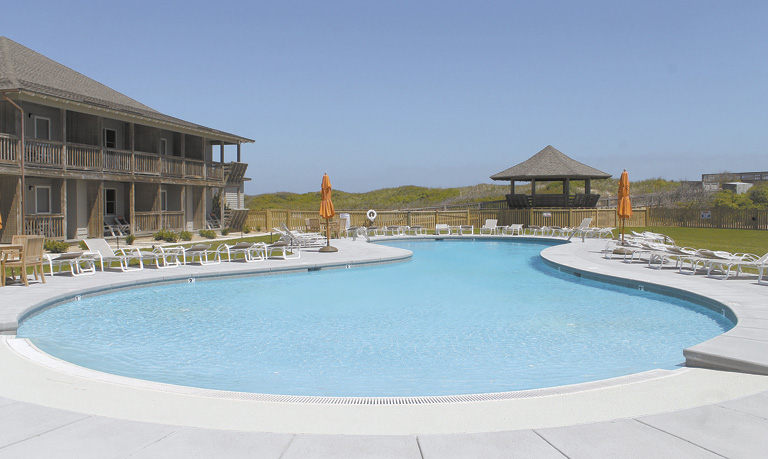 The new family pool at the renovated Sanderling Resort in Duck.