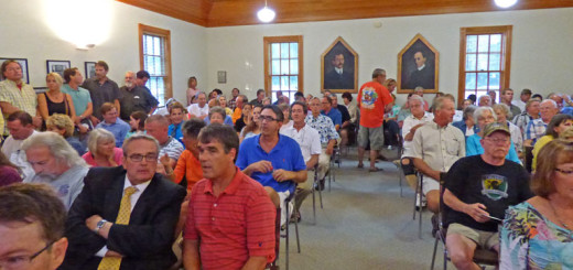 A more than SRO crowd gathered at Kitty Hawk Town Hall to learn about town and county plans for beach nourishment last night.
