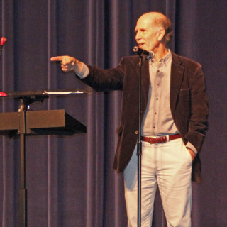 NC Poet Laureate, Joseph Bathanti, addressing First Flight High School students November 15. Photo Zach Smith, Nighthawk News.