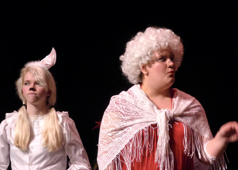 Easter Bunny (Michelle Hall) and Mrs. Claus (Rachel Zuhars).