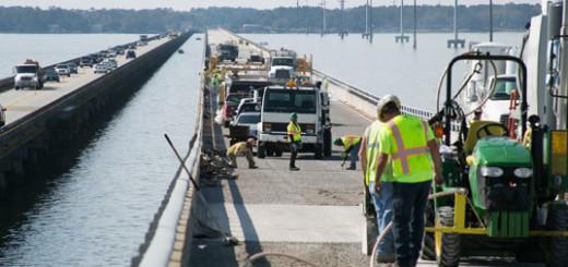 Construction on the Wright Memorial Bridge.