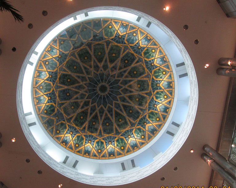 Mosaic domed ceiling at the UAE embassy.