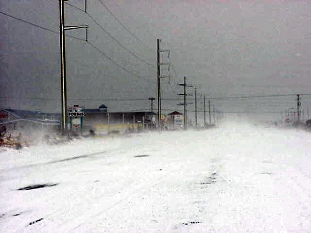 Winter scene, 2003 snowstorm on the Bypass. Photo credit, NOAA.