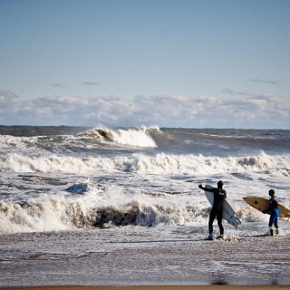 Dressed for winter surfing on the Outer Banks.