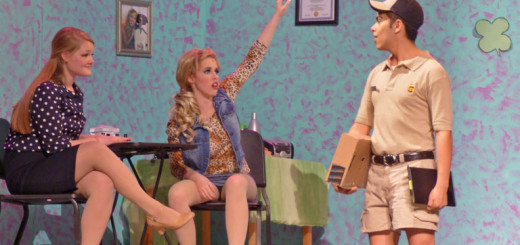 LtoR-Sarah Vercauteren as Elle Woods, Kendyl Cosgrove as Poulette and Jose Valle as Kyle the UPS Driver.