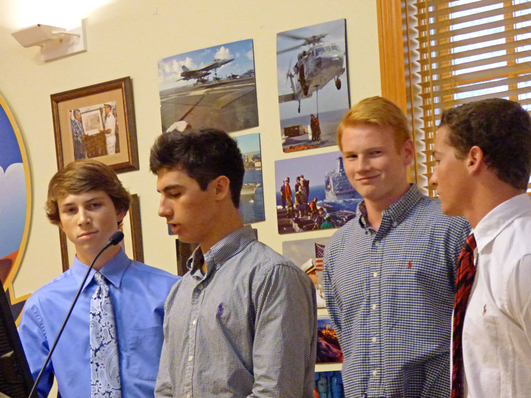 First group of students to present to the KH Town Council. (LtoR) Heath Spry, Reid Kelly, Graham Smalley.