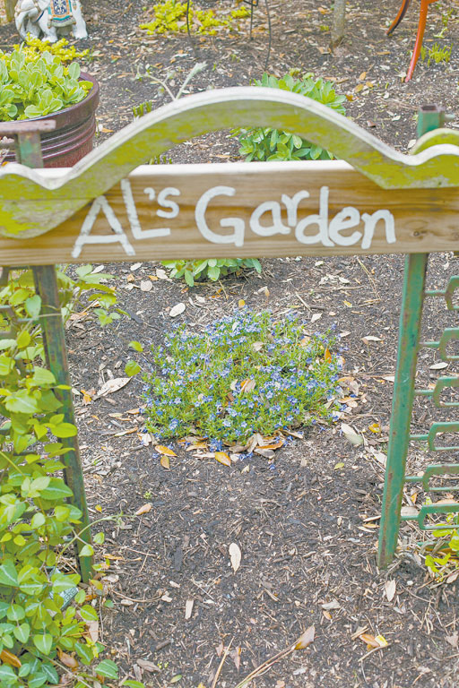 The hand painted sign marking Al's garden.