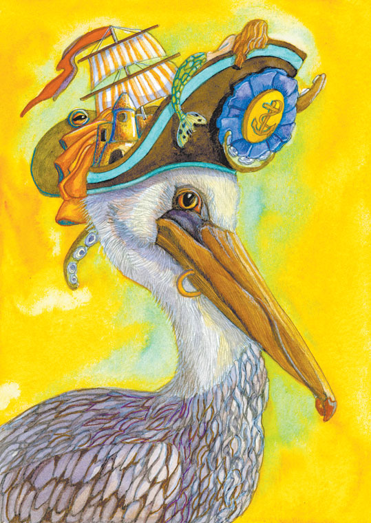 Pelican with Hat.