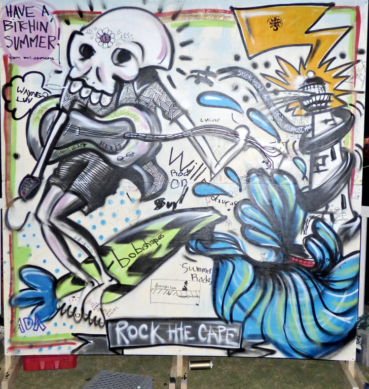 The finished product: Chris Kemp's Rock the Cape mural, on display at Koru Village through the summer