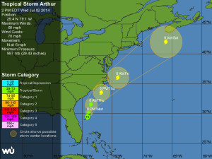 Weather Underground track of Hurricane Arthur at 11a.m. 7/2.