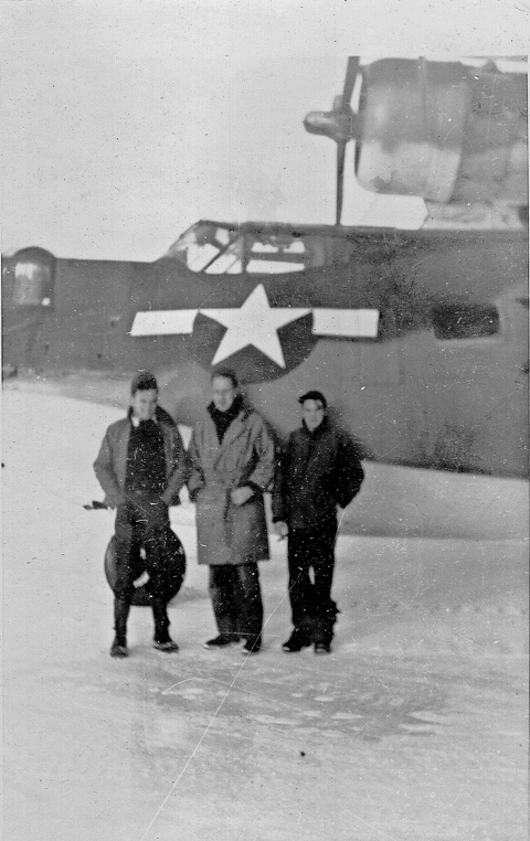 Leon Tabb with two Navy buddies on Attu, the western most of the Aleutian Islands.