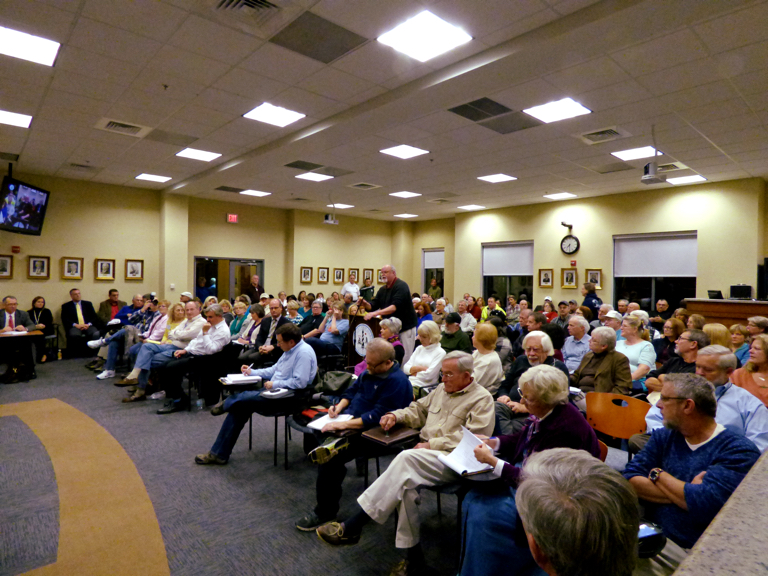 Packed room at the Town Hall meeting.