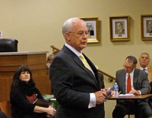 Chairman Bob Woodard addressing the Town Hall meeting.