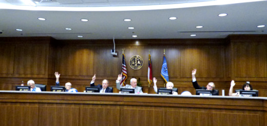 """Dare County Commissioners voting """"aye"""" in support of a resolution opposing offshore drilling."""