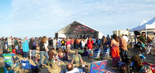 Greensky Bluegrass performing on the beach at Jennette's Pier.