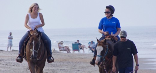 Riding on the beach in Corolla. (Lto R)LeeAnn McGraw, Maggie, Cody Edwards leading the horse. Cody walked the length of the ride.