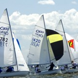 Wind at their back and Spinnakers set at the Club 420 Nationals.