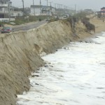 At the recently repaired stretch of the Beach Road north of the Black Pelican, high tide Thursday afternoon.