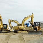 Construction equipment on the Kitty Hawk beach. Photo, Kip Tabb