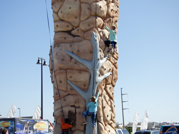 KHK climbing wall was popular with kids.