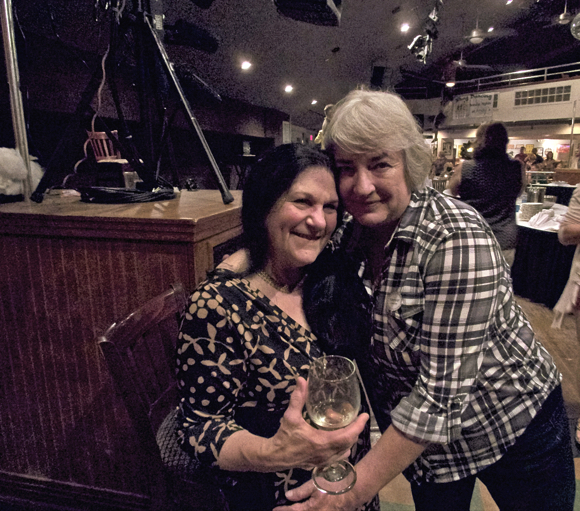 Maxine Rossman and Julie Short of Carolina Designs at the fundraiser at Kelly's Tavern Wednesday night.