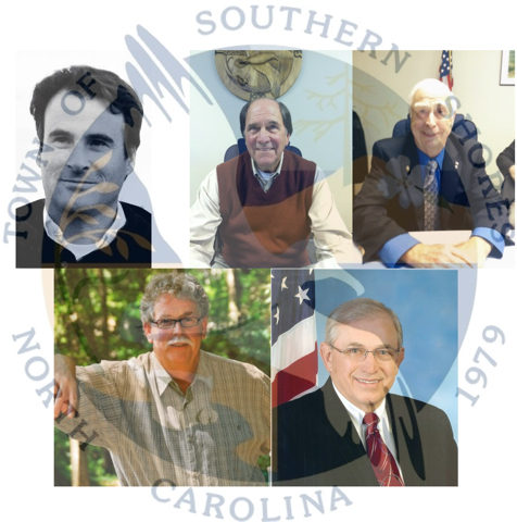 New Southern Shores town council. Top Row (left to Right) Chris Nason, Mayor Tom Bennett, Leo Holland. Bottom row: Gary McDonald, Fred Newberry.