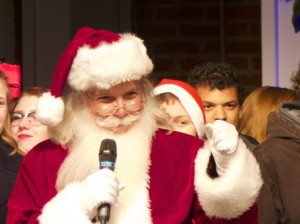 Santa Claus stops by Manteo to light the Christmas Tree and talk to all the children.