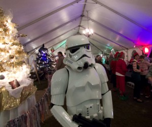 Storm trooper watches over holiday activity at Festival of Trees.