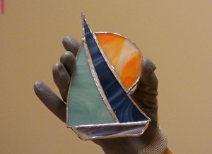 Stained glass boat from Sandy Briggman's class.