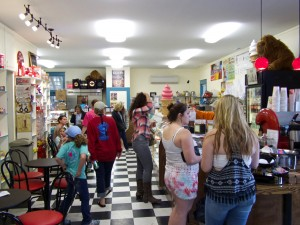The newest Big Buck's Ice cream in Manteo has a bit of a coffeehouse feel to it.