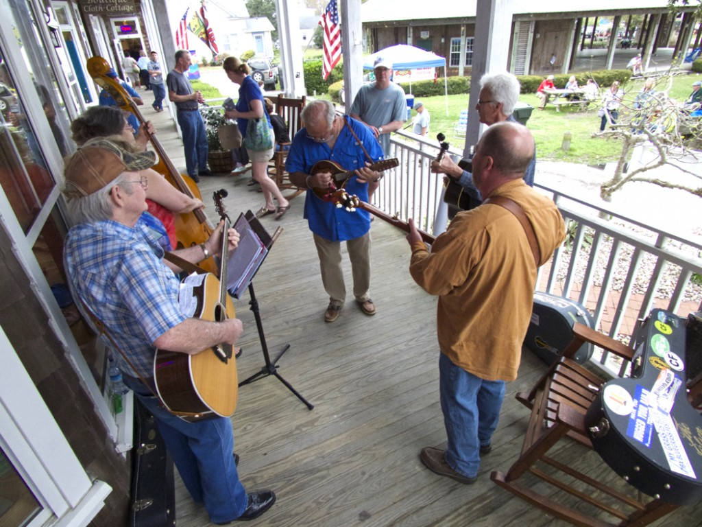 Drifting Sands jamming on the front porch of the Bluegrass Island Store.