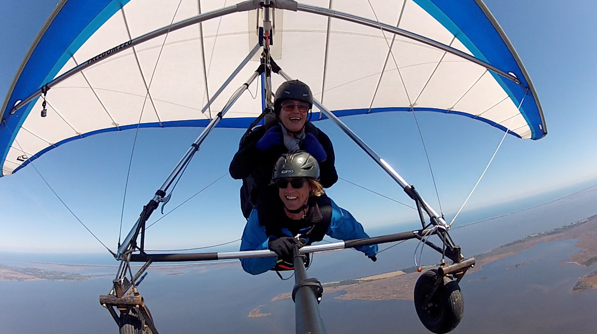 Life at 4000'. Writer Amelia Boldaji overcomes her fear of heights with instructor Andy Thompson at the controls.