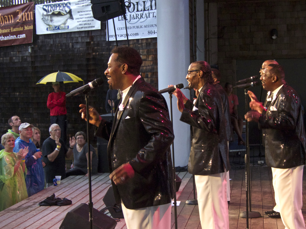 Temptations Revue in performance at Roanoke Island Festival Park. Original Temptation Nate Evans closest to camera.