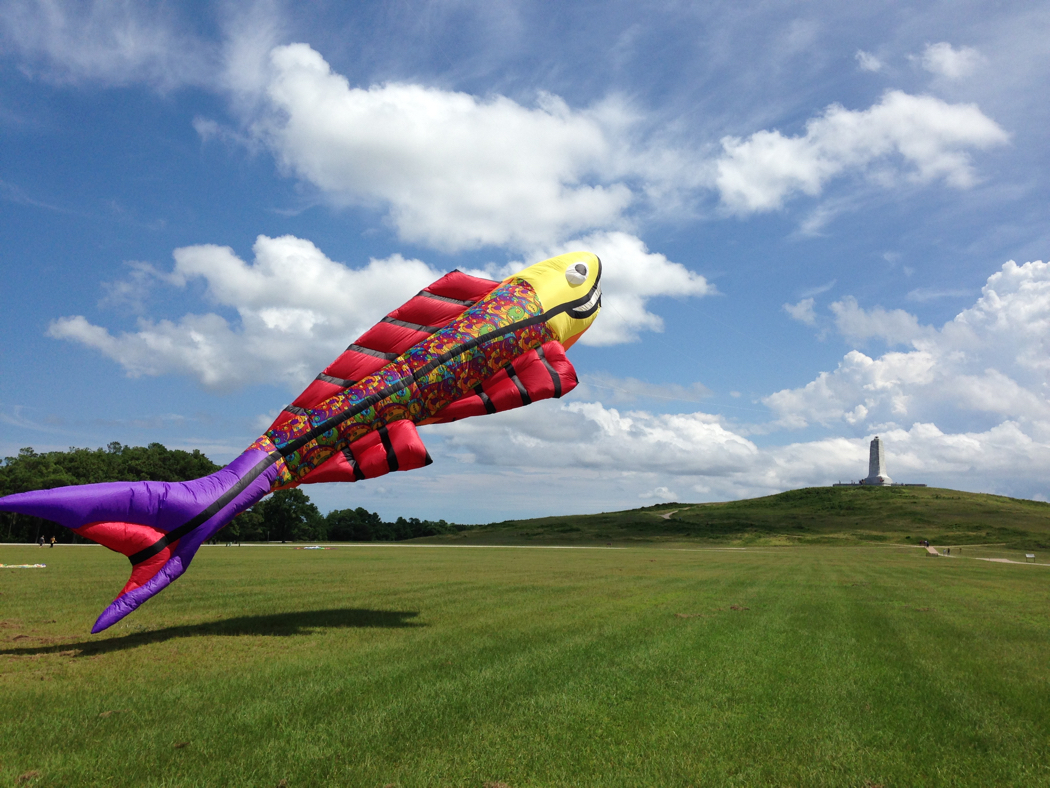 Giant fish kite flying at 38th Annual Wright Kite Festival. Photo Kitty Hawk Kites.