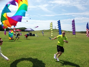 Trying to run with a parachute drag kite. Photo, Kitty Hawk Kites.
