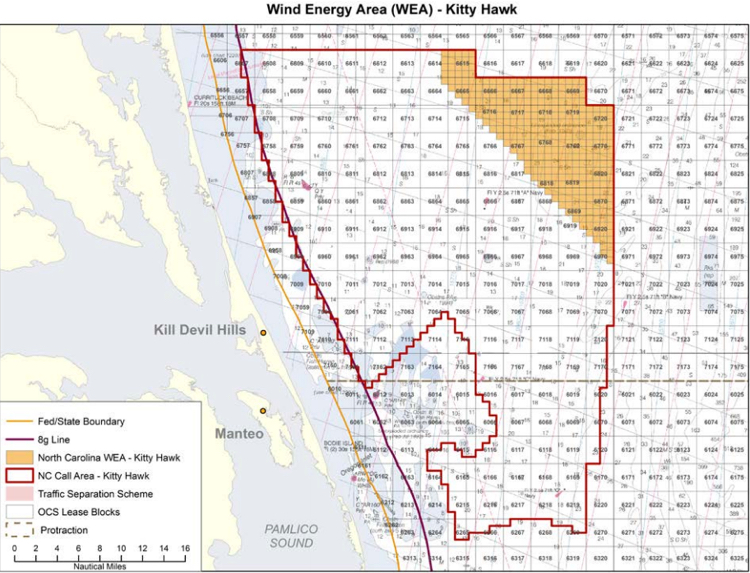 Kitty Hawk WEA. The lease area is the gold are in the north east corner. The boundaries are what was originally considered. Image, BOEM