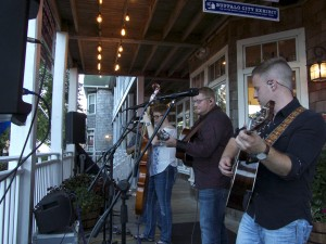 Nu-Blu performing on the porch in front of Bluegrass Island.