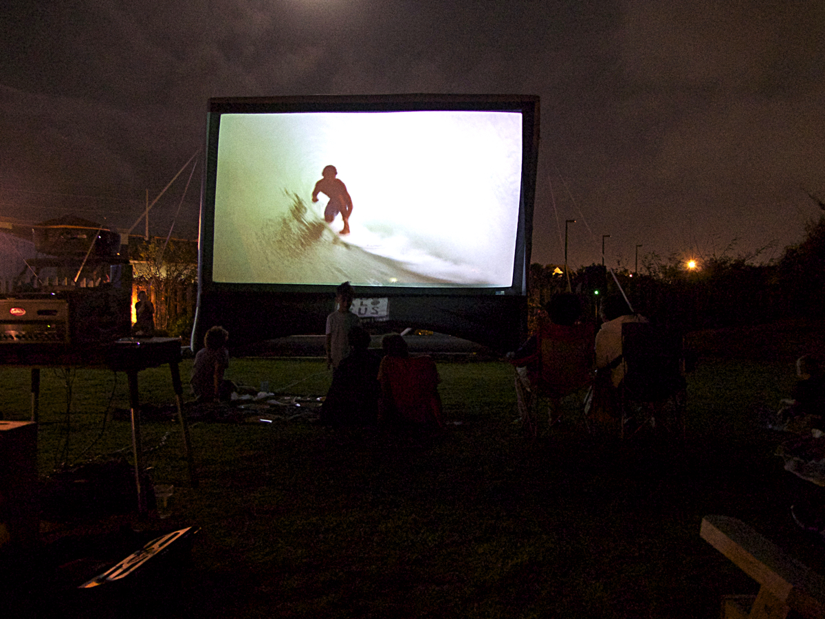 Movies under the night sky at the Brewing Station. On screen-Psychic Migrations.
