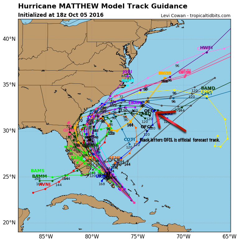 Spaghetti models of forecast tracks of Hurricane Matthew at 5:00 p.m 10/5. Image, Tropical Tidbits