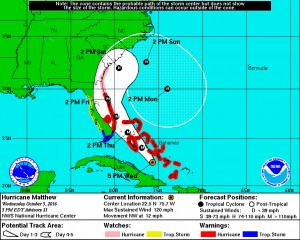 Hurricane Matthew projected path, Wednesday, October 5. A consistent forecast Tuesday through Friday evening.
