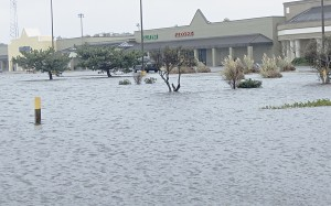 Flooded parking lot. Outer Banks residents cannot recall seeing the entire parking lot of the Dare Center turned into a lake.