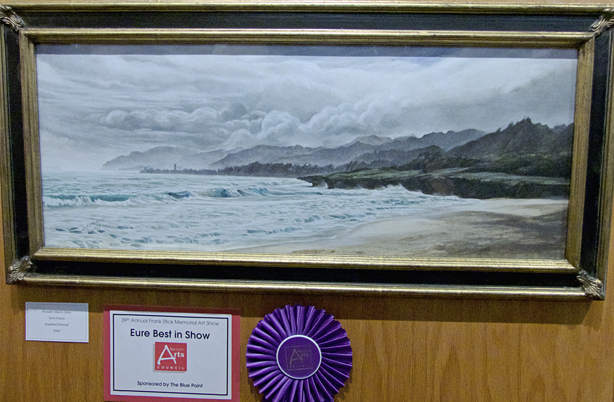 2017 Eure Best in Show Pounders Beach, Oahu, graphite and charcoal by Torin Francis.