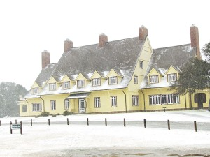 Whalehead Club in the snow.